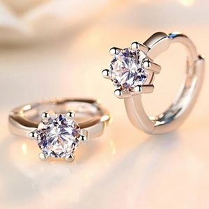 NEW 925 SILVER PLATED ROUND SOLITAIRE HUGGIE HOOPS